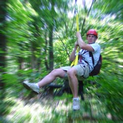 Sliding along a zipline